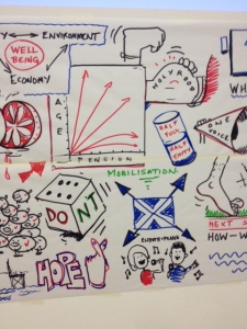 Cartoons drawn at the event to illustrate discussion